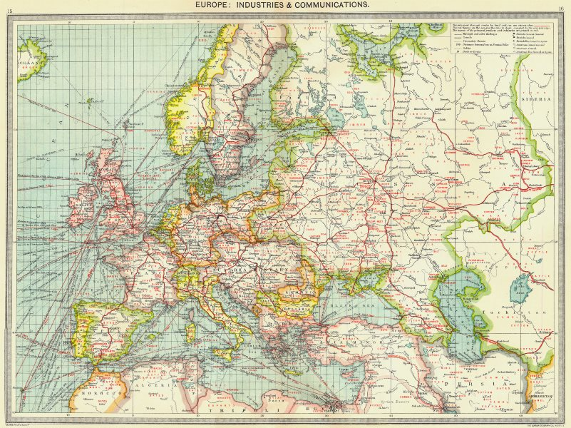Associate Product EUROPE. Europe. Industries and Communications 1907 old antique map plan chart