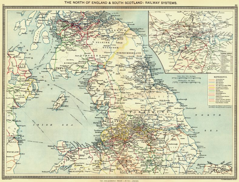 Associate Product UK. North of England & south Scotland. Railway Systems; map London 1907