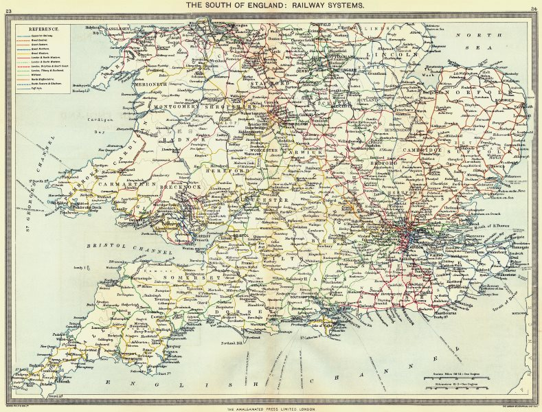 Associate Product ENGLAND. The South of England. Railway systems 1907 old antique map plan chart