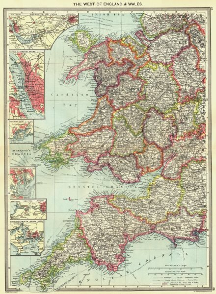 Associate Product UK. Manchester Ship Canal Liverpool Barry Cardiff Bristol Plymouth 1907 map