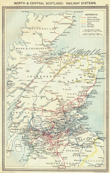 Associate Product SCOTLAND. North and Central Scotland. Railway Systems 1907 old antique map