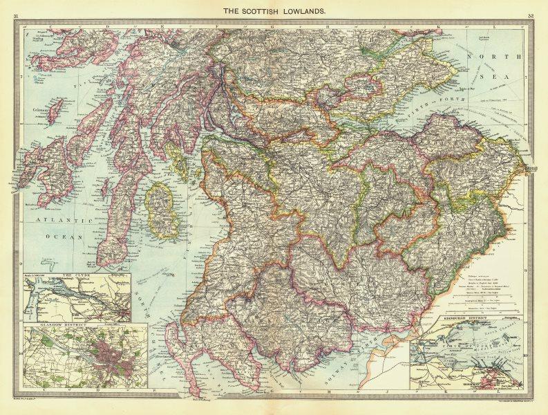 SCOTLAND. Scottish Lowlands; maps of Clyde; Glasgow District; Edinburgh 1907