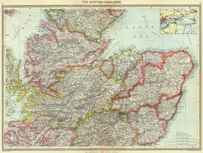 Associate Product SCOTLAND. Scottish Highlands; Tay ports 1907 old antique map plan chart