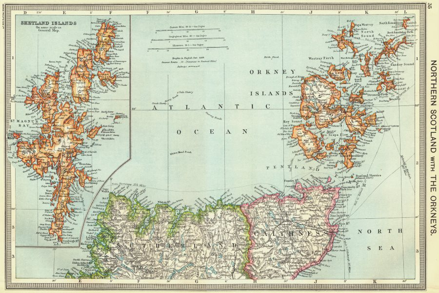 Associate Product SCOTLAND. Northern with Orkneys; map of Shetland Islands 1907 old antique