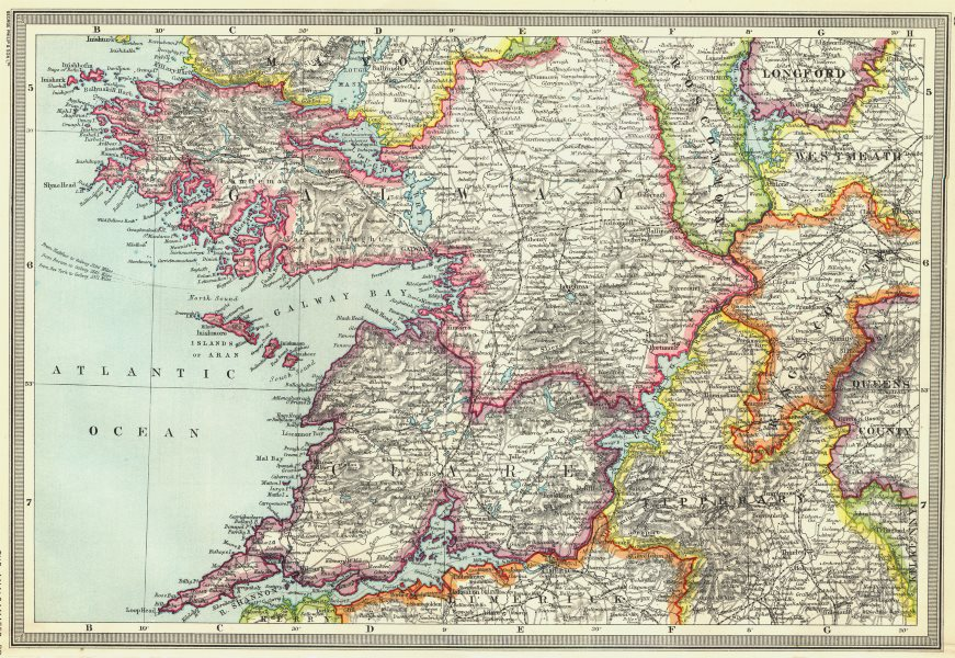 Map Of The West Of Ireland.Ireland Galway And The West Of Ireland 1907 Old Antique Map Plan Chart