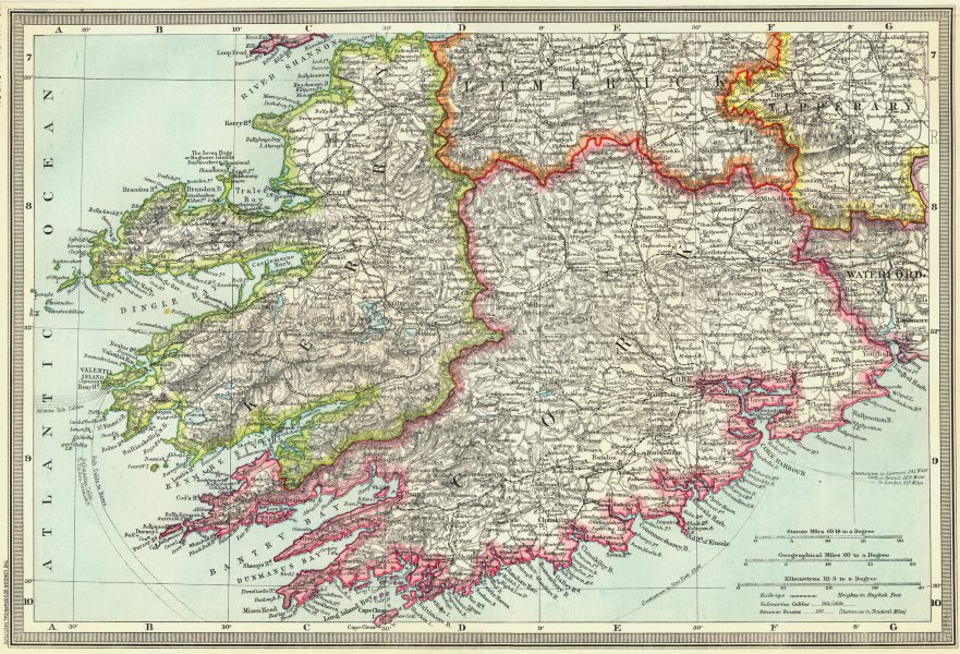 Map Of West Of Ireland.Details About Ireland Killarney And South West Ireland 1907 Old Antique Map Plan Chart