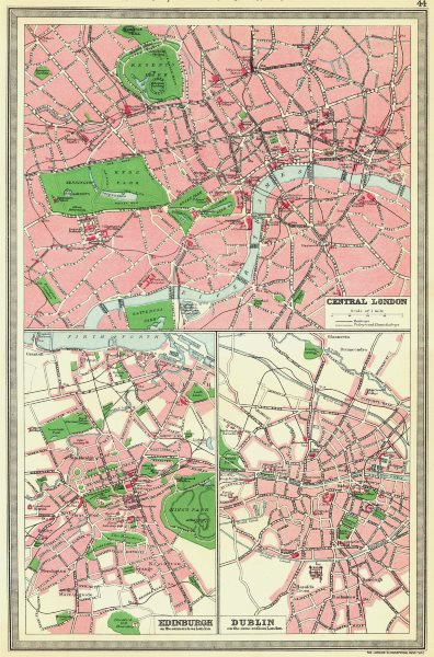 Associate Product UK. Central London; Edinburgh; Dublin 1907 old antique vintage map plan chart