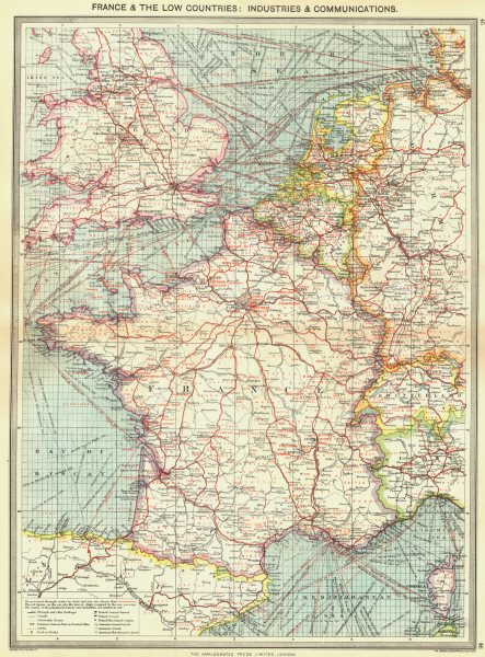Associate Product FRANCE. & low countries. Industries & communications 1907 old antique map