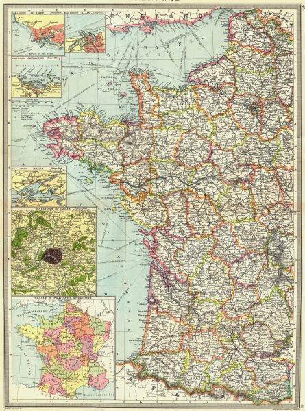 Associate Product WEST FRANCE. Le Havre Calais Cherbourg Brest Paris provinces 1789 1907 old map