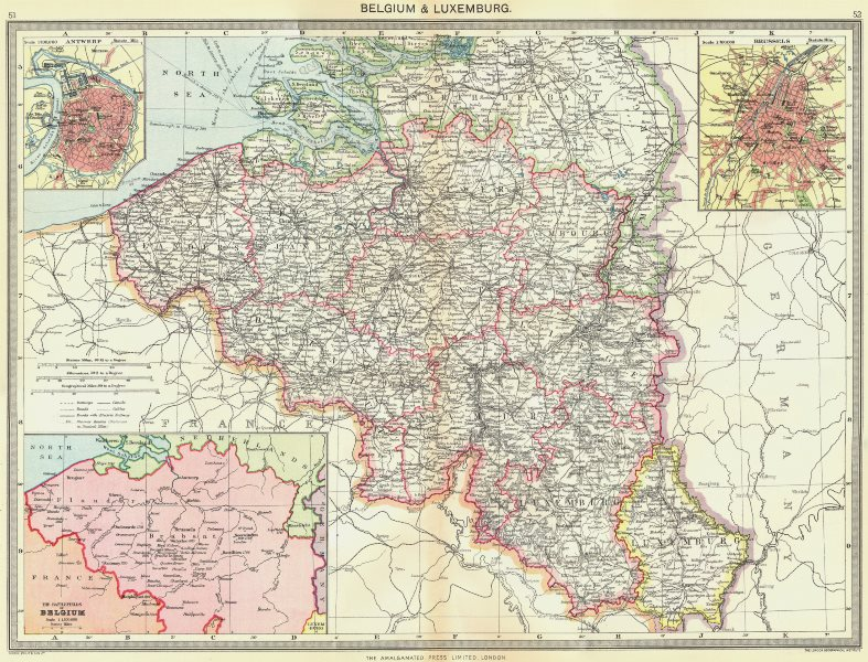 Associate Product BELGIUM. & Luxembourg; maps of Antwerp; Brussels; battlefields 1907 old
