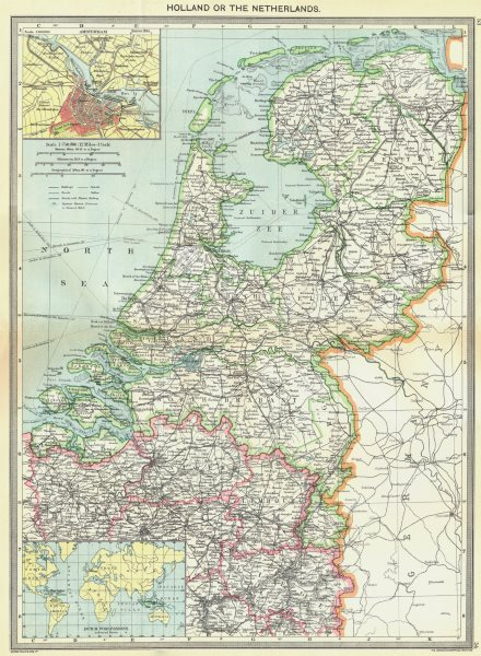 Associate Product NETHERLANDS. maps of Amsterdam; Dutch Possessions 1907 old antique chart