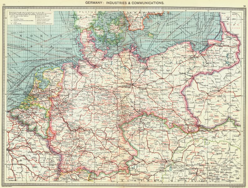 Associate Product GERMANY. Germany. Industries and Communications 1907 old antique map chart