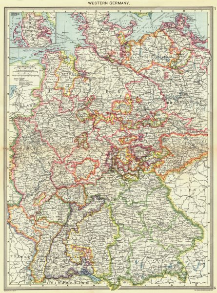 Associate Product GERMANY. Western Germany; Inset map of Schleswig 1907 old antique chart