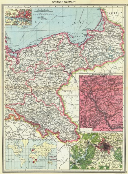 Associate Product EASTERN GERMANY. Hamburg; The Rhine; Berlin; colonies 1907 old antique map