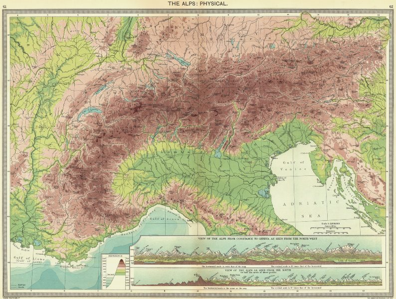 SWITZERLAND. Alps. Physical; from Constance to Geneva North west;  1907 map