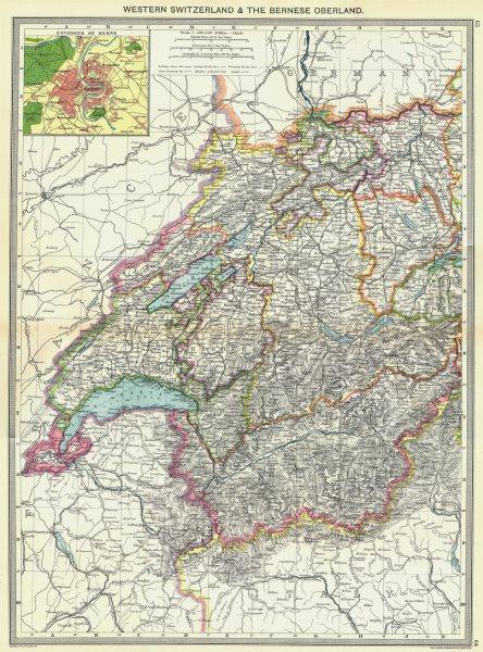 Associate Product SWITZERLAND. Western & Bernese Oberland; area of Berne 1907 old antique map