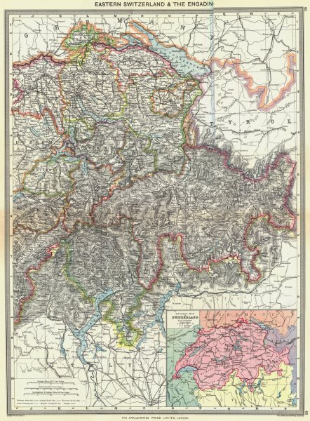 Associate Product SWITZERLAND. Eastern & Engadin; map of Tourist 1907 old antique plan chart