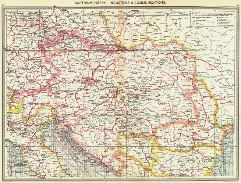 Associate Product AUSTRIA. Austria-Hungary. Industries and Communications 1907 old antique map