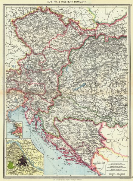 Associate Product AUSTRIA. & Western Hungary; map of Trieste; Vienna 1907 old antique chart