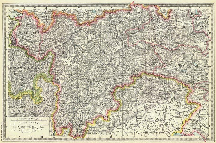 Associate Product AUSTRIA. The Austrian Tyrol 1907 old antique vintage map plan chart