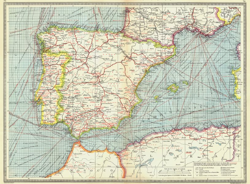Associate Product SPAIN. Spain and Portugal. Industries and Communications 1907 old antique map