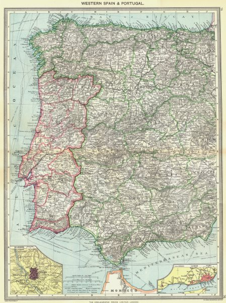 Associate Product SPAIN. Western & Portugal; map of Madrid; Lisbon 1907 old antique chart