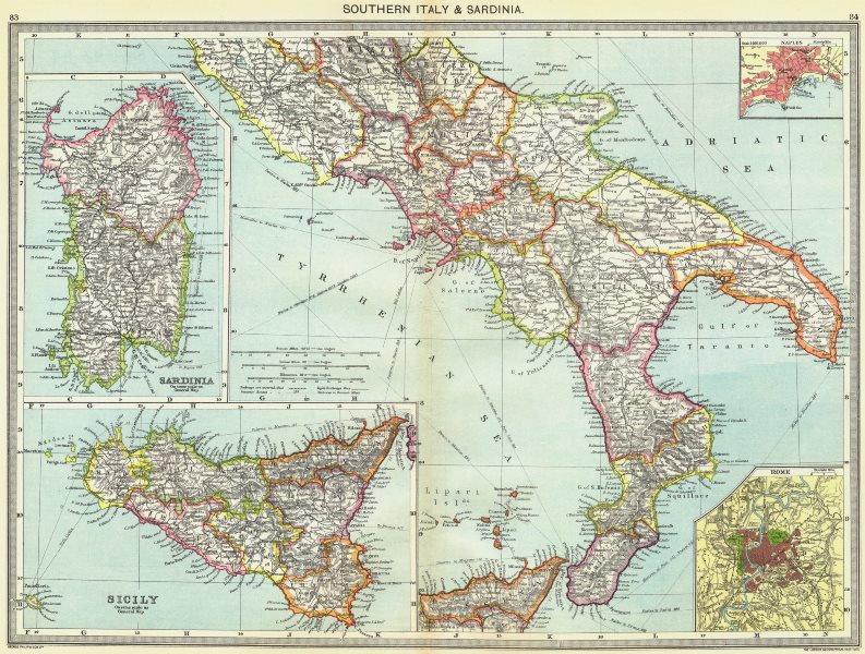 Associate Product ITALY. Southern & Sardinia; maps of Naples; Sicily; Rome 1907 old antique