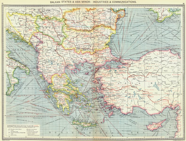 Associate Product TURKEY. Balkan States & Asia Minor. Industries & Communications 1907 old map