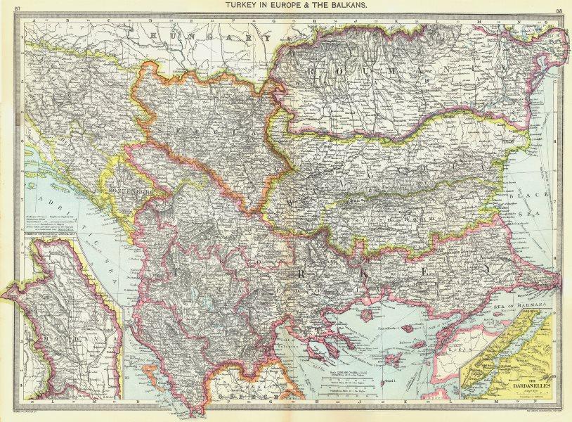 BALKANS. Turkey in Europe &; map of Moldova; Dardanelles 1907 antique