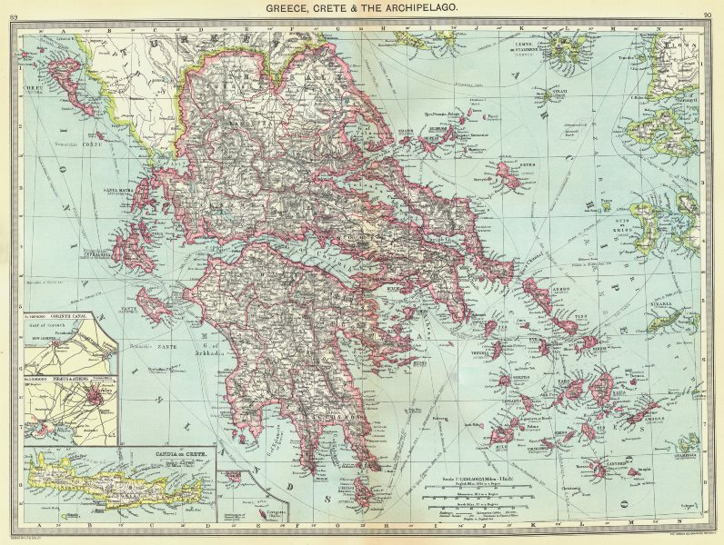 GREECE. Crete & Archipelago; maps of Corinth Canal; Piraeus & Athens;  1907