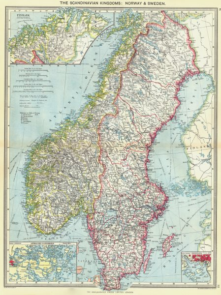 SCANDINAVIA. Norway and Sweden; Finmark; Stockholm; Oslo 1907 old antique map