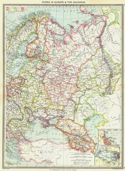 Associate Product RUSSIA. In Europe & Caucasus; maps of Odessa; Kronstadt Ship Canal 1907