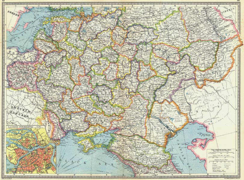 Associate Product RUSSIA. Central & south; map of St Petersburg 1907 old antique plan chart