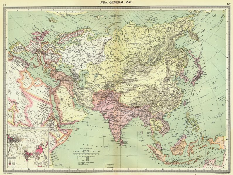 Associate Product ASIA. Asia. General Map; Inset map of Population map 1907 old antique
