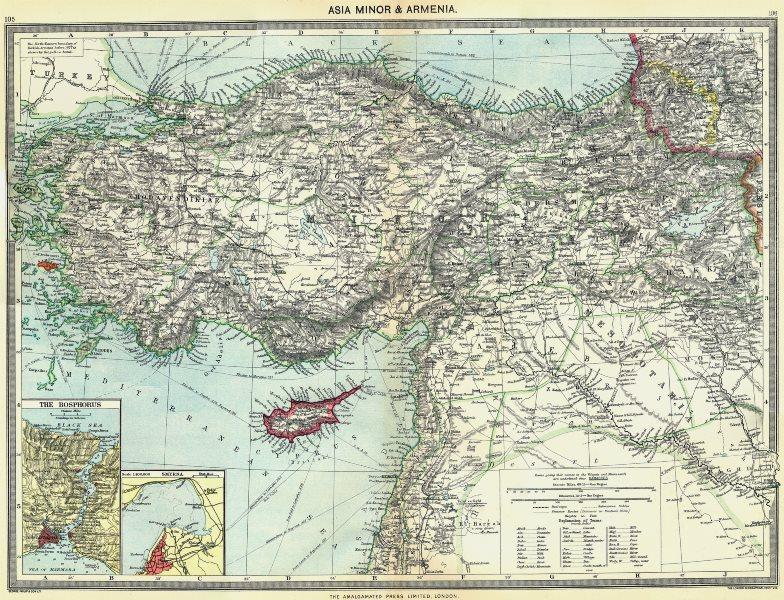 Associate Product TURKEY. Asia Minor & Armenia; maps of Bosphorus; Smyrna 1907 old antique
