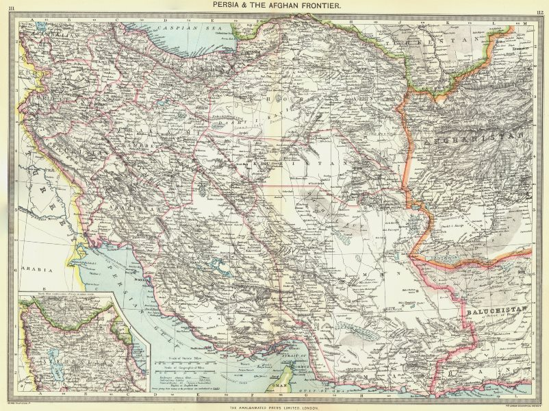 Associate Product IRAN. Iran and the Afghan Frontier; Inset map of Azerbaijan 1907 old