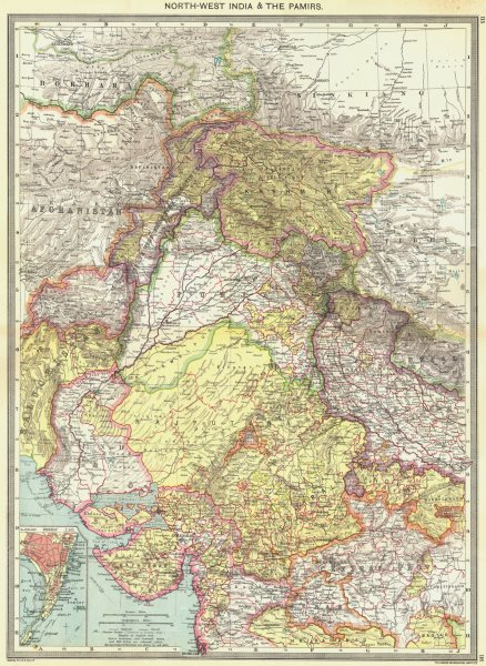 Associate Product INDIA. North-West India and The Pamirs; Inset map of Mumbai 1907 old