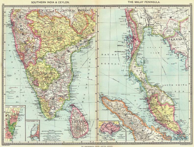 Associate Product SOUTH INDIA. Sri Lanka; Malay Peninsula; Chennai; Colombo; Singapore 1907 map