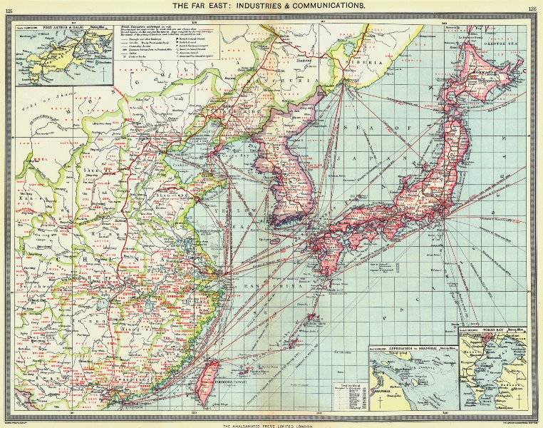 Associate Product JAPAN KOREA CHINA TAIWAN. Industry Communications; Tokyo; Port Arthur 1907 map