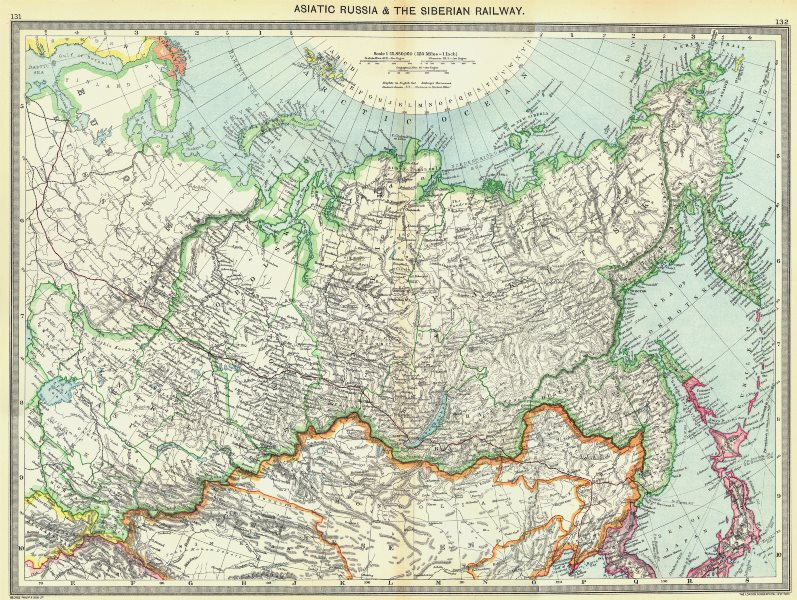 Associate Product RUSSIA. Asiatic Russia and the Siberian Railway 1907 old antique map chart
