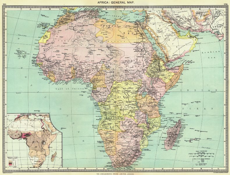 Associate Product AFRICA. Africa. General Map; Inset map of Population map 1907 old antique