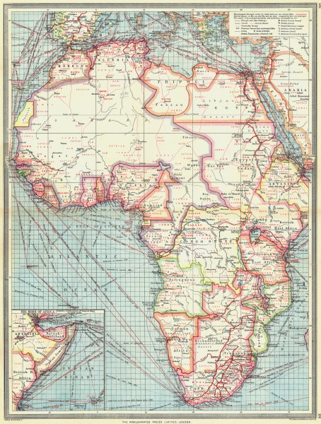 Associate Product AFRICA. Industries & Communications; Horn of 1907 old antique map plan chart