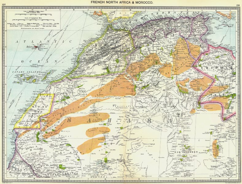 Associate Product AFRICA. French North Africa and Morocco 1907 old antique map plan chart
