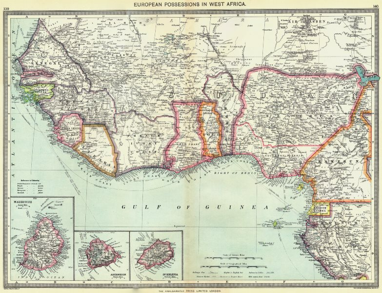 Associate Product WEST AFRICA. European colonies; Mauritius; Ascension; St Helena 1907 old map
