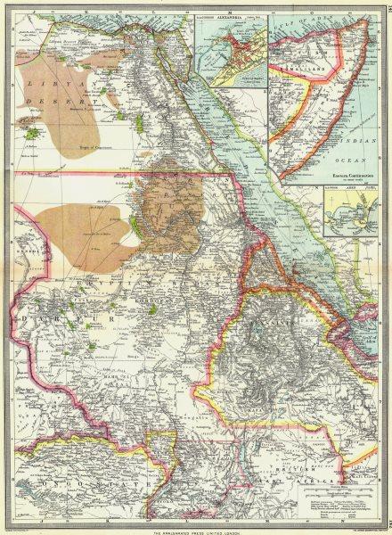 EGYPT SUDAN ABYSSINIA. Alexandria; Eastern Continuation; Aden 1907 old map