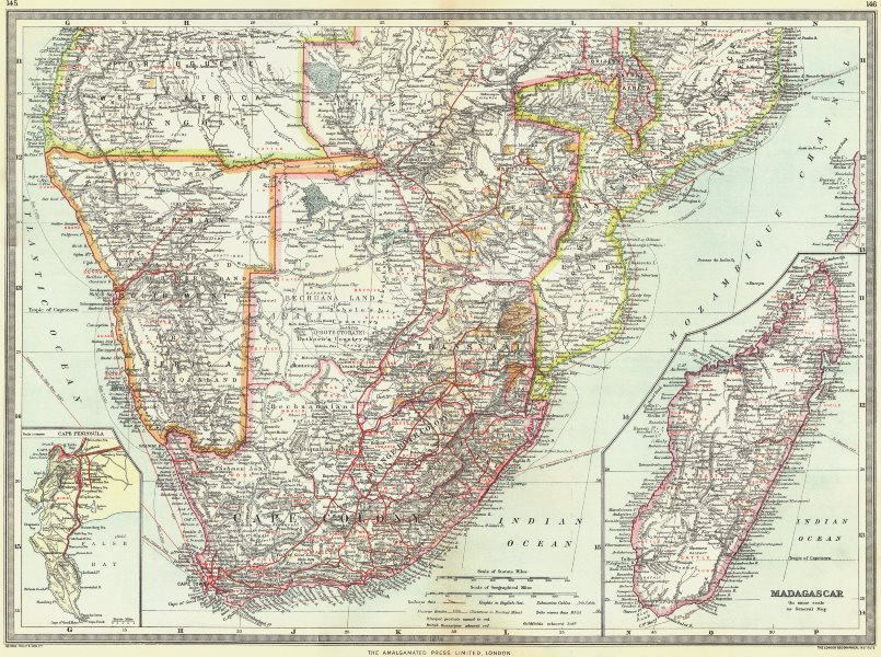 Associate Product SOUTH AFRICA. Industry Communication; Madagascar; Cape Peninsula 1907 old map