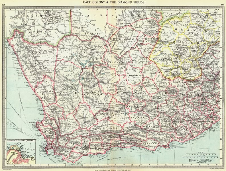 Associate Product SOUTH AFRICA. Cape Colony & Diamond Fields; map of town 1907 old antique