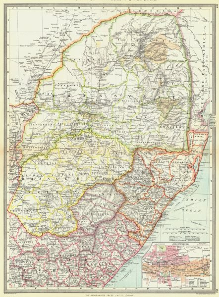 SOUTH AFRICA. Natal, Orange river Colony & Transvaal; map of Johannesburg 1907