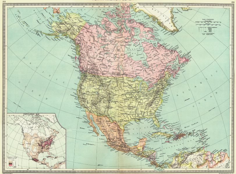 Associate Product NORTH AMERICA. map of population 1907 old antique vintage plan chart