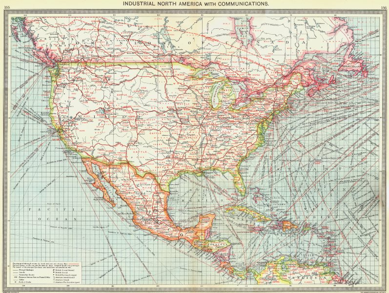 Associate Product NORTH AMERICA. Industrial North America. with Communications 1907 old map